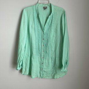 J. Jill Green Linen Pleated Long Sleeve Blouse